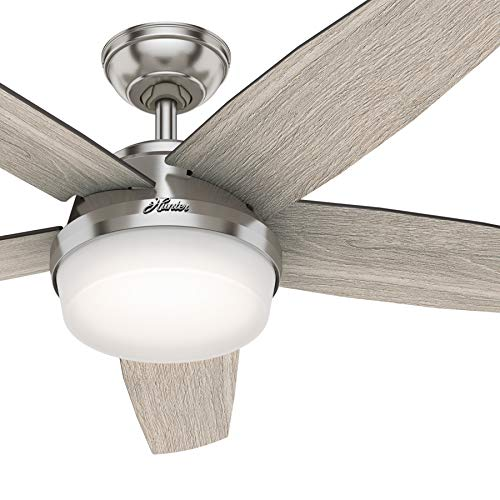Hunter Fan 52 inch Contemporary Brushed Nickel Indoor Ceiling Fan with Light Kit and Remote Cont ...