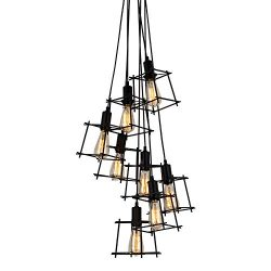 T&A 8 Lights Geometric Cage Shade Cluster Chandelier,Industrial Retro Style Hanging Light
