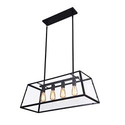 mirrea 4-Light Kitchen Island Pendant Matte Black Shade with Clear Glass Panels Modern Industria ...