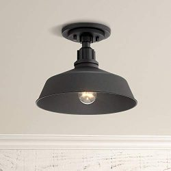 Arnett Rustic Outdoor Ceiling Light Fixture Urban Barn Black Aluminum 12″ for Exterior Hou ...