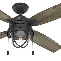 Hunter Fan 52 inch Casual Natural Iron Indoor Ceiling Fan with Light Kit (Renewed)