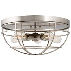 Kira Home Gage 18″ Industrial Farmhouse 5-Light Cage Flush Mount Ceiling Light, Brushed Ni ...