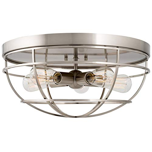 Kira Home Gage 18″ Industrial Farmhouse 5-Light Cage Flush Mount Ceiling Light, Brushed Ni ...