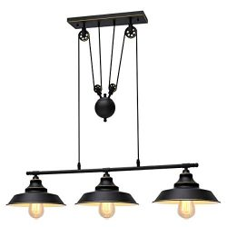 KingSo Three-Light Pulley Pendant Light, Kitchen Island Light Adjustable Industrial Rustic Chand ...