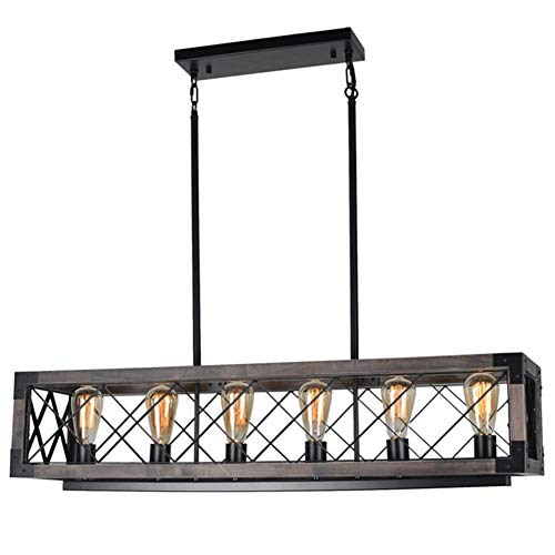 Beuhouz Long Wood Chandelier Light for Kitchen Island, Metal Farmhouse Dining Room Lighting Rect ...