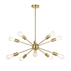 BONLICHT Sputnik Chandelier 10 Light Brushed Brass Modern Pendant Lighting Gold Industrial Vinta ...