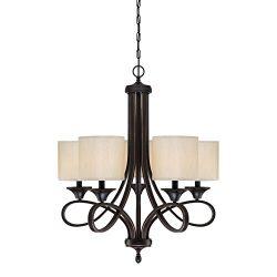 Westinghouse Lighting 6302900 Lenola Five-Light Indoor Chandelier, Amber Bronze Finish with Beig ...