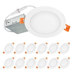 LUXTER (12 Pack) 6 inch Ultra-Thin Round LED Recessed Panel Light with Junction Box, Dimmable, I ...