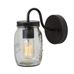 Bagood 1 Glass Mason Jar Pendant Close to Ceiling Light fixtures, Single