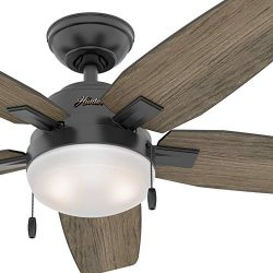 Hunter Fan 46 inch Contemporary Matte Black Indoor Ceiling Fan with Light Kit (Renewed)