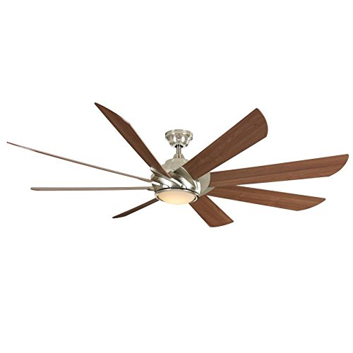 Harbor Breeze Hydra 70 In Brushed Nickel Led Indoor Downrod Mount Ceiling Fan With Light Kit And