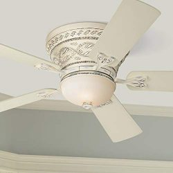 52″ Ancestry Hugger Ceiling Fan with Light LED Dimmable Remote Control French Rubbed White ...