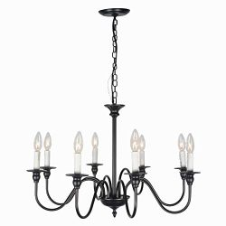 Baiwaiz Black Chandelier Lighting, Metal Vintage Candle Chandelier Industrial Elegant Chandelier ...