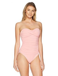 La Blanca Women's Island Goddess Rouched Front Bandeau One Piece Swimsuit, Light Coral, 10