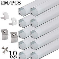 StarlandLed 10-Pack 6.6FT/2 Meter LED Aluminum Channel V-Shape, LED Profile with End Caps and Mo ...