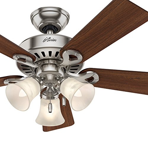 Hunter Fan 44 inch Brushed Nickel Ceiling Fan with Swirled Marble Glass Light Kit and Remote Con ...