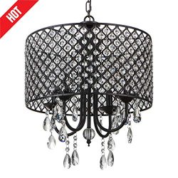 Lutriva Home Crystal Chandelier Light, Retro Pendant Lighting Fixture, Beaded Drum Shade Antique ...