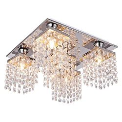 Lightess Crystal Chandelier 5 Lights Modern Flush Mount Ceiling Light Fixture