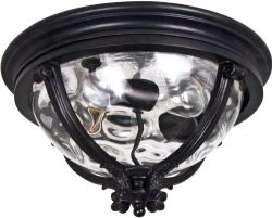 Maxim 41420WGBK Camden 3-Light Outdoor Ceiling Mount, Black Finish, Water Glass Glass, MB Incand ...