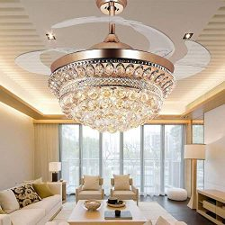 RS Lighting Chandelier Ceiling Fan Light with Remote Control and Transparent Blades 3 Varied Lig ...