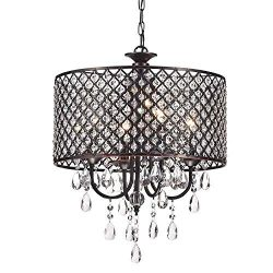 Edvivi Marya 4-Lights Oil Rubbed Bronze Round Crystal Chandelier Ceiling Fixture | Beaded Drum S ...
