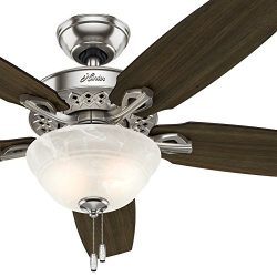 Hunter fan 52 inch Indoor Brushed Nickel Ceiling Fan With Bowl Light kit (Renewed)