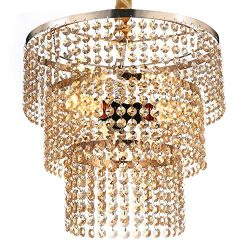 Luxurious K9 Crystal Chandelier with 3 Circle Octagon Shape Crystal Lighting Fixture Pendant Lam ...