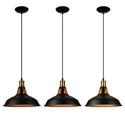 LEONLITE Industrial Metal Pendant Light, Edison Vintage Style Hanging Barn Lampshade, Matte Blac ...