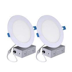 2Pack Ultra-Thin Recessed Ceiling Light with Junction Box 12W 6″ 5000K Daylight White, Dim ...