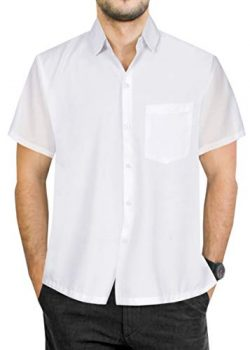 LA LEELA Rayon Pocket Hawaiian Camp Shirt White Small | Chest 38″ – 40″