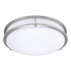 14-Inch Double Ring Dimmable LED Flush Mount Ceiling Light, 22W (100W Equivalent), 1800lm, 4000K ...
