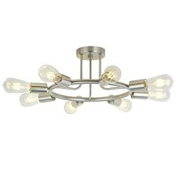 BONLICHT 8-Light Sputnik Chandelier Brushed Nickel Semi Flush Mount Ceiling Light Industrial Vin ...