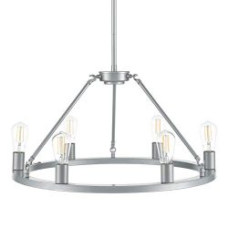 Sonoro 26 inch Round 6 Light Dining Room Industrial Chandelier | Silver Kitchen Island Light Fix ...