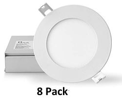 QPLUS 4 Inch LED Recessed Lighting, Ultra Thin Canless Downlight Kit with Junction Box, Dimmable ...
