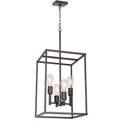 4 Light VINLUZ Oil-Rubbed Bronze Foyer Pendant Light Industrial Vintage Square Wide Cage Farmhou ...