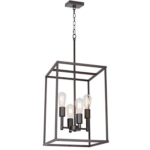 4 Light VINLUZ Oil-Rubbed Bronze Foyer Pendant Light Industrial Vintage Square Wide Cage Farmhou ...