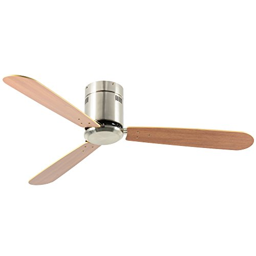 Andersonlight 52-in Brushed Nickel Flush Mount Indoor Ceiling Fan with Remote (3-Blade)