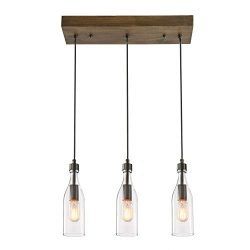 LNC A03491 Wooden Pendant Lights 3-Height Adjustable Farmhouse Chandelier for Kitchen Island and ...