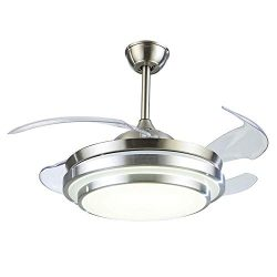 Nicess 42 Inches Ceiling Fan Lights with Invisible Blades and Remote LED Integration Three-Color ...