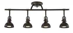 Kira Home Broadway 30″ 4-Light Industrial Directional Track Light, Bronze Finish (Renewed)