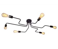 Industrial Ceiling Light Semi Flush Mount Light Fixture Modern Black Metal Chandelier with 6 Lig ...