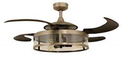 Fanaway 212928010 Classic Retractable 4 Blade Indoor Ceiling Fan with Dimmable LED Light Kit and ...