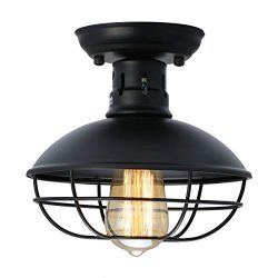 LMSOD Industrial Vintage Metal Black Ceiling Light, Creative Retro Pendant Lights 1 Light Fixtur ...