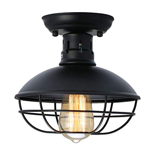 LMSOD Industrial Vintage Metal Black Ceiling Light, Creative Retro Pendant Lights 1 Light Fixtur ...