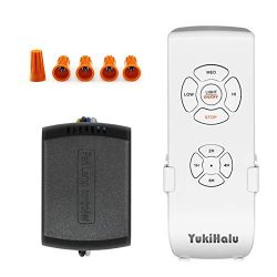 YUKIHALU 3-in-1 Small Size Universal Ceiling Fan Remote Control and Receiver Kits with Light and ...