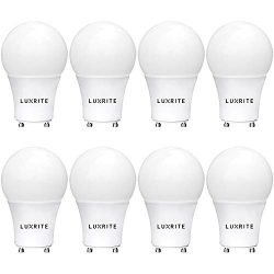 Luxrite GU24 LED A19 Light Bulb, 60W Equivalent, 3000K Warm White, Dimmable, 800 Lumens, LED GU2 ...