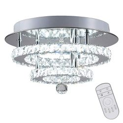 KAI Crystal Dimmable Temperature Adjustable Ceiling Light Flush Mount Modern Contemporary Luxury ...