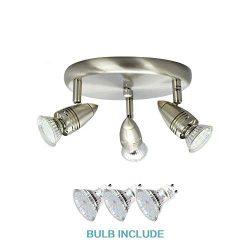 DLLT Flushmount Ceiling Track Lighting Kits-3 Light Multi-Directional Ceiling Spot Lights Fixtur ...
