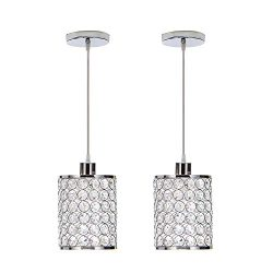 MonDaufie 2-Pack Modern Crystal & Metal Chrome Finish Bar Bedroom Hanging Pendant Lighting,P ...