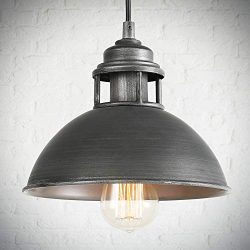LOG BARN Pendant Lighting with Cutouts on Top, Industrial Silver Brushed Pendant Light for Kitch ...